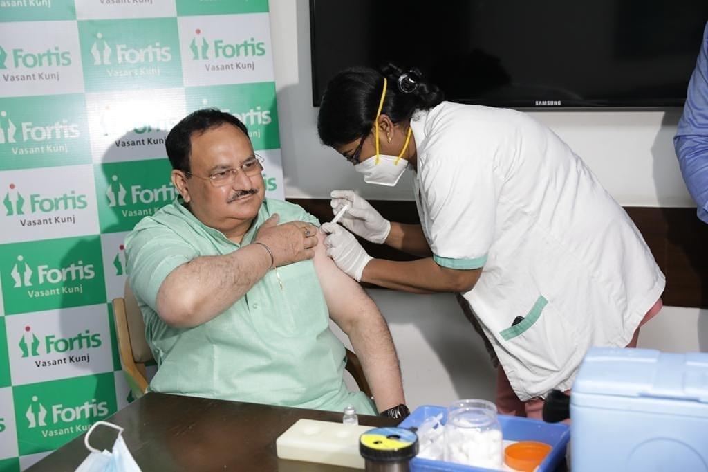 ભારતીય જનતા પાર્ટીના રાષ્ટ્રીય અઘ્યક્ષ શ્રી જે.પી.નડ્ડાજીએ કોરોના રસીનો પ્રથમ ડોઝ લીધો.